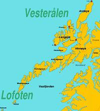 Kaart van de Lofoten en Vesteralen