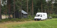 Örträsk: camperplek met douche/toilet bij de linbanan (kabelbaan). [© Campersite.nl]