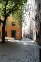 Een straatje in het middeleeuws centrum, de Gamla Stan. [© Campersite.nl]